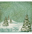 Vintage postcard with christmas trees snow vector | Price: 1 Credit (USD $1)