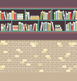 Vintage Style BookShelf On Brick Wall vector image vector image