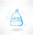 Winter hat with snowflakes grunge icon vector image