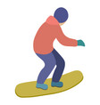 young guy is riding a snowboard in stylish bright vector image vector image