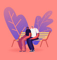 young loving couple sitting on bench in city park vector image vector image