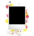 picture frame on splatter background vector image