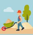 construction site worker handcart industry vector image
