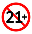21 age restriction sign vector image vector image