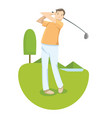 a man in yellow shirt playing golf in golf vector image