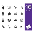 black cleaning icons set on white background vector image vector image