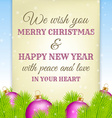 christmas greeting on old paper with fir vector image vector image