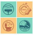 cleaning service set of round badges vector image vector image
