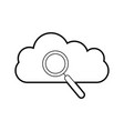 cloud computing with magnifying glass vector image vector image