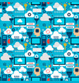 cloud technology tile pattern vector image vector image