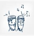 congas sketch line design music instrument vector image