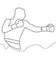 continuous one line drawing boxer concept vector image vector image
