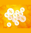 discount labels on orange summer background vector image vector image