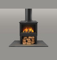 fireplace with burning firewood inside vector image