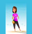 fun cartoon and a bit self-confident woman vector image