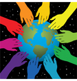 hands touching earth vector image