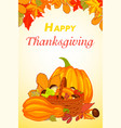 happy thanksgiving vertical banner cartoon style vector image