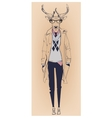 hipster portrait of deer with glasses vector image vector image