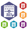 independence day icons set hexagon vector image vector image