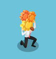 isometric businessman carrying huge gears vector image
