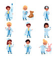 kids doctors little girl and boys vector image vector image