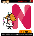 letter n with nurse cartoon vector image vector image
