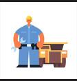 male technician mechanic wearing hard hat busy vector image