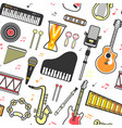 musical instruments flat icons seamless pattern vector image vector image