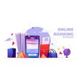 online booking cartoon banner tickets reservation vector image
