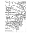 painted vault florentine palace in rome vector image vector image