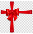 red bow with crosswise ribbons vector image vector image