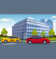 red car and yellow taxi cab driving asphalt road vector image vector image