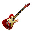 red electric guitar with a lightning in strings vector image