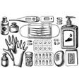 set hand drawn black and white pills vector image
