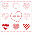 set of 10 sketchy doodle hearts vector image