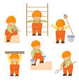 set of cartoon business builders Little builders vector image