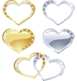Set of gold and silver heart vector image vector image