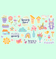 set pretty pastel spring icons with flowers vector image