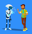 sick robot sneezes at scared man isolated vector image vector image