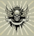skull in moto style with engine and wings vector image vector image