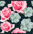succulents and roses seamless pattern vector image