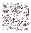 tiger kids monochrome cartoon sketch vector image