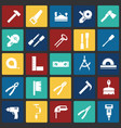 tools icons set on color squares background for vector image