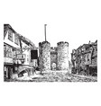 towers of the west gate eighteen vintage engraving vector image vector image