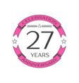 twenty seven years anniversary celebration logo vector image vector image