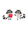 two little raccoon characters holding red heart vector image vector image