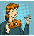 woman taking photo in pop vector image vector image