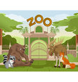 Zoo gate with forest animals 1 vector image