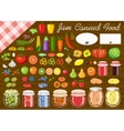 Set of fruit and vegetables for jam and canned vector image