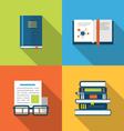 Flat icons design of handbooks books and publish vector image